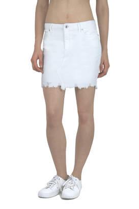 Tractr New York Poplin) Distressed Hem 5 Pocket Denim Skirt