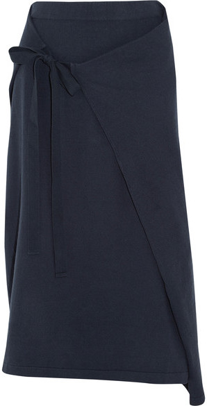 JOSEPH Joseph - Wrap-effect Cotton-jersey Midi Skirt - Navy