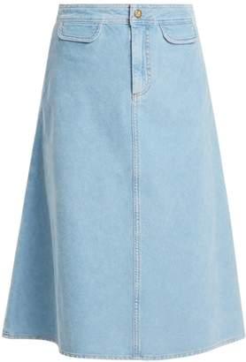 MiH Jeans Byron A-line cotton-corduroy midi skirt