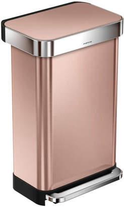 Simplehuman Rectangular Pedal Bin with Liner Pocket - Rose Gold 45L