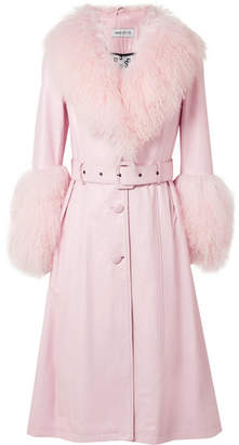 Saks Potts - Foxy Shearling-trimmed Leather Coat - Baby pink