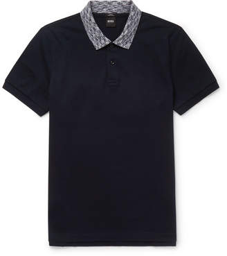 HUGO BOSS Philipson Slim-Fit Contrast-Trimmed Cotton-Pique Polo Shirt - Navy