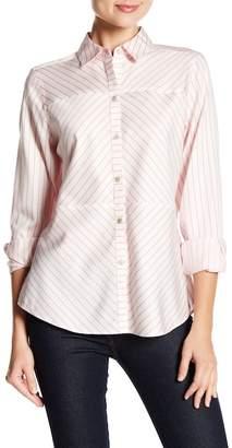 Foxcroft Monica Classic Stripe Print Shaped Shirt