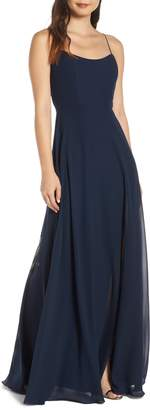 Jenny Yoo Kiara Bow Back Chiffon Evening Dress