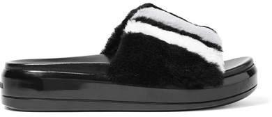 Prada - Striped Shearling Slides - Black