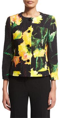 Escada Button-Front Carnation-Print Jacket, Black $1,575 thestylecure.com