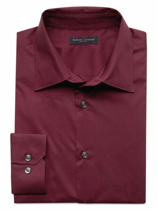 Slim fit poplin dress shirt