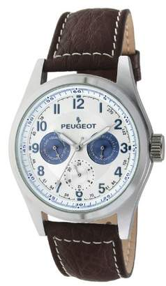 Peugeot Men's 2028 Watch with Brown Leather Band