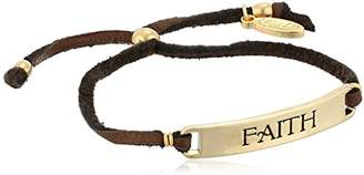 Ettika Faith - Curved Plate Adjustable Deerskin Tassel Bracelet