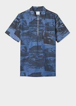 Paul Smith Men's Chambray 'Harold's Collage' Print Short-Sleeve Shirt