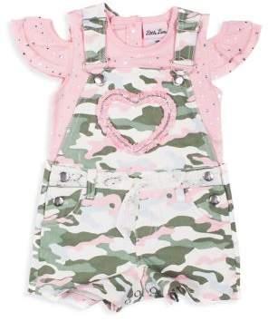74356397722b9 Little Lass Little Girl's 2-Piece Studded Shortalls & Top Set