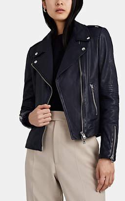 Barneys New York Women's Leather Moto Jacket - Navy