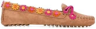 Car Shoe floral appliqué loafers