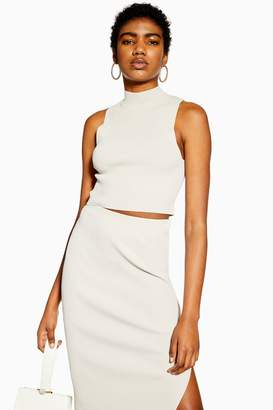 Topshop Ribbed High Neck Tank