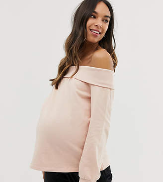 Asos DESIGN Maternity off shoulder sweatshirt with foldover in soft pink