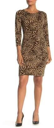 Modern American Designer Leopard Print Sweater Dress