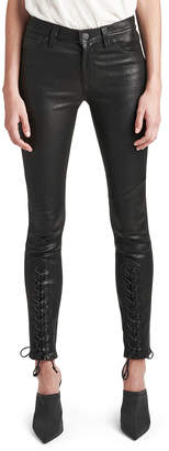 Hudson Nico Mid-Rise Super Skinny Leather Lace-Up Pants