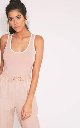 PrettyLittleThing Basic Jersey Grey Contrast Thong Bodysuit