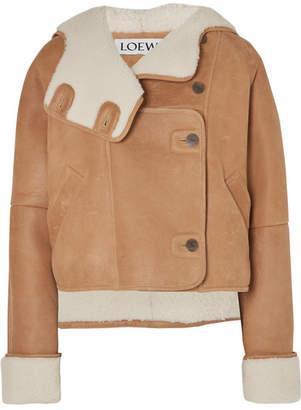 Loewe Cropped Shearling Hooded Jacket - Brown