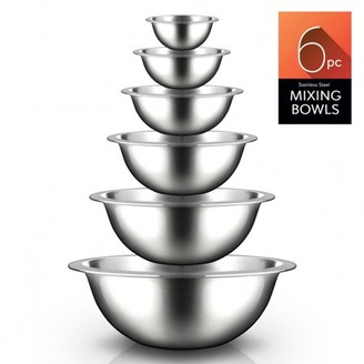 Nutrichef NCMB6PC - Kitchen Mixing Bowls - Food Mixing Bowl Set, Stainless Steel (6 Bowls)