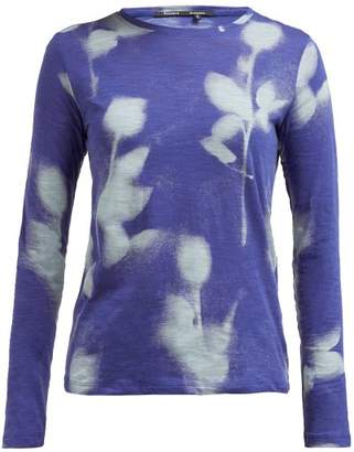 Proenza Schouler Rose Print Long Sleeved Cotton T Shirt - Womens - Blue Multi