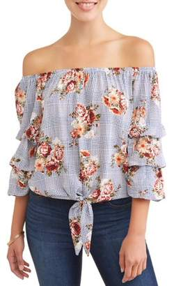 Crave Fame Juniors' Floral Printed Tiered Ruffle Sleeve Off the Shoulder Blouse