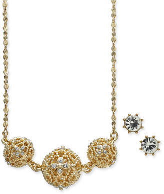 Charter Club Gold-Tone 2 Pc. Set Crystal Filigree Pendant Necklace and Crystal Stud Earrings, Created for Macy's