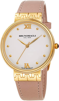 Bruno Magli 36mm Isabella Leather Watch, Pink/Gold
