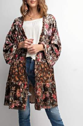 Easel Mix-Match Velvet Kimono