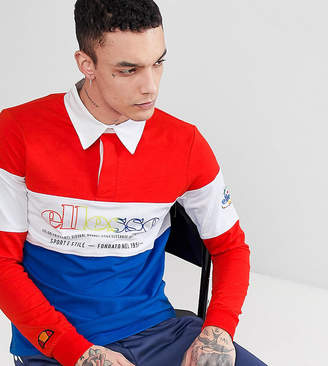 Ellesse Color Block Long Sleeve Rugby Polo Shirt In Red