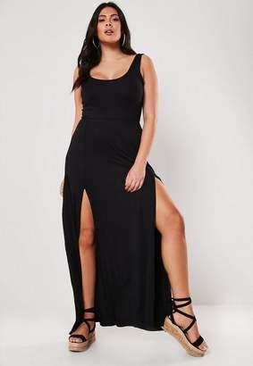 Missguided Plus Size Black Double Split Maxi Dress