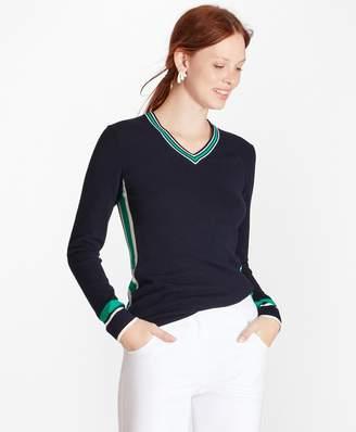 Brooks Brothers Stripe-Trim V-Neck Sweater
