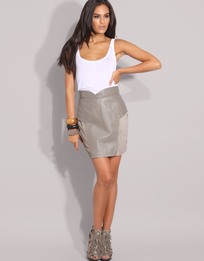 ASOS Leather And Suede Mix Skirt