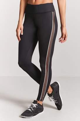 Forever 21 Active Mesh-Panel Stripe Leggings