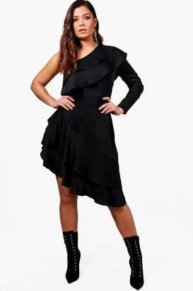 boohoo Plus Ruffle Detail One Shoulder Dress