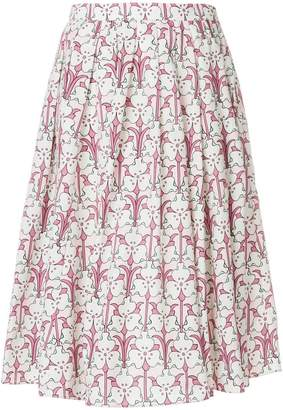 Prada pleated floral-print midi skirt