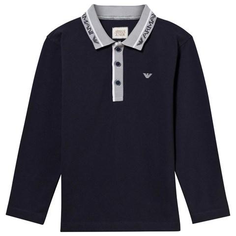 Armani JuniorArmani Junior Navy and Grey Classic Branded Long Sleeve Polo