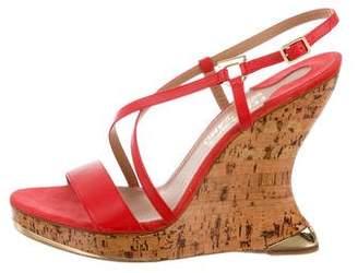 Salvatore Ferragamo Leather Wedge Sandals w/ Tags