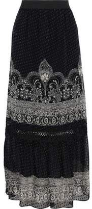 Anna Sui Fountains Of Fancy Printed Swiss-dot Silk-georgette Midi Skirt