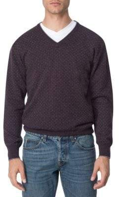 Printed Cashmere V-Neck Sweater