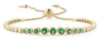 Prive Jemma Wynne Luxe Emerald & Diamond Slider Bracelet in 18K Gold