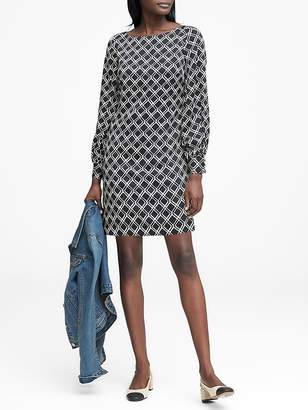 Banana Republic Petite Print Poet-Sleeve Shift Dress