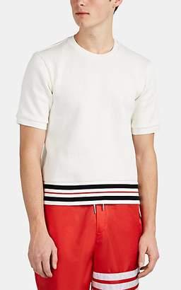 Thom Browne Men's Stripe-Trimmed Rib-Knit Cotton Sweater - White