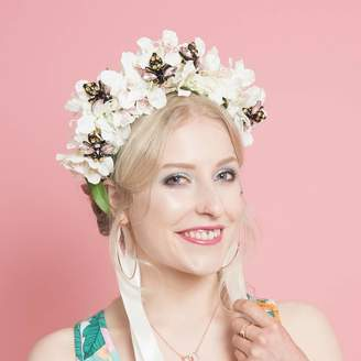 Silk flowers for hats shopstyle uk at notonthehighstreet couture ggs pin up floral crown fascinator with jewelled bee detail mightylinksfo