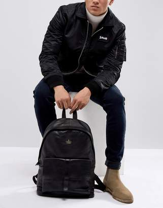 Asos Backpack With Leather Front Pocket And Embossed Logo