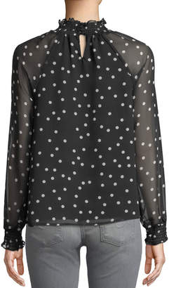 Marled By Reunited Ruched-Neck Polka-Dot Blouse