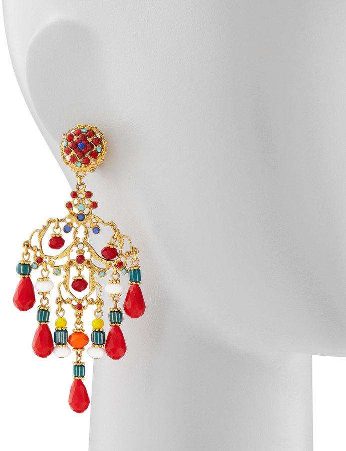 Jose & Maria Barrera Beaded Chandelier Clip Earrings, Red/Multicolor