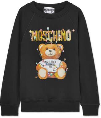 Moschino Printed Stretch-cotton Jersey Sweater - Black
