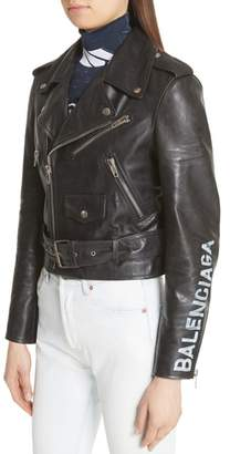 Balenciaga Logo Sleeve Leather Moto Jacket