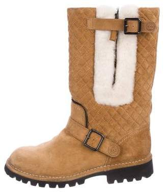 Chanel Quilted Suede Boots